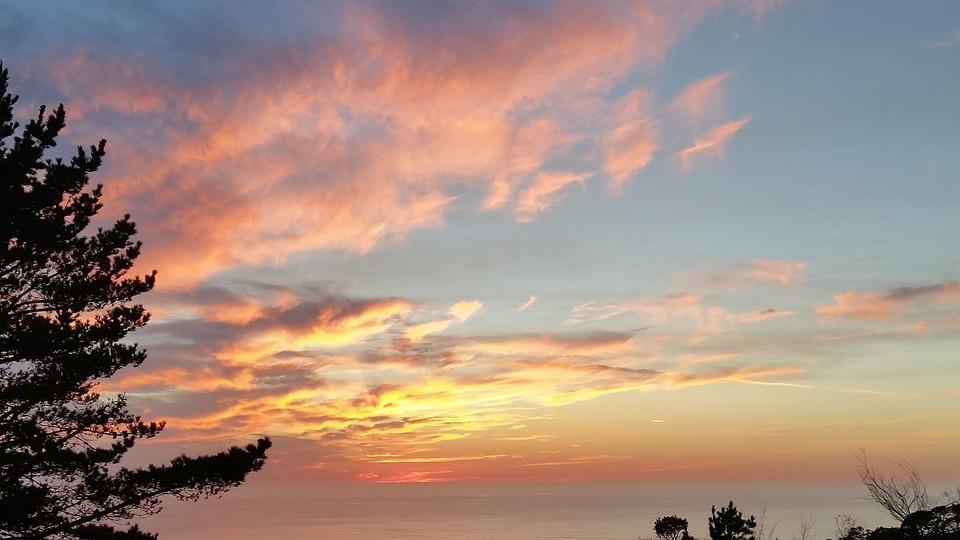 Sunset, Ocean, Sky, Evening, Cloud, Golden, Yellow
