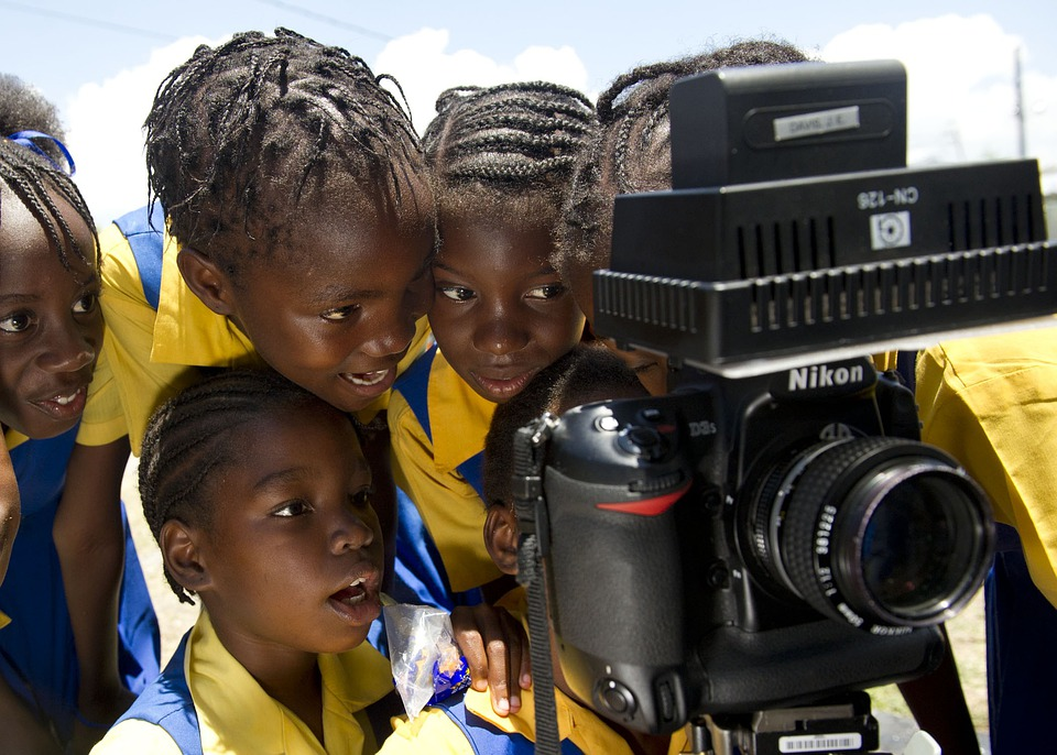 Kingston, Jamaica, Children, Camera, Examining