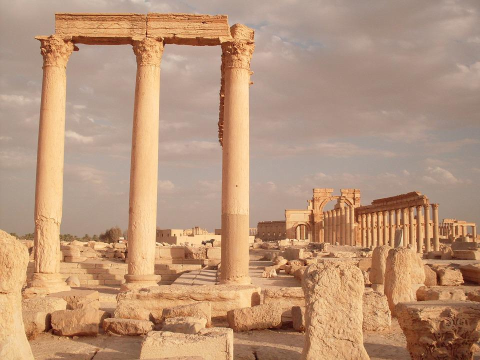 Palmyra, Rome, Syria, Colonnade, Excavations