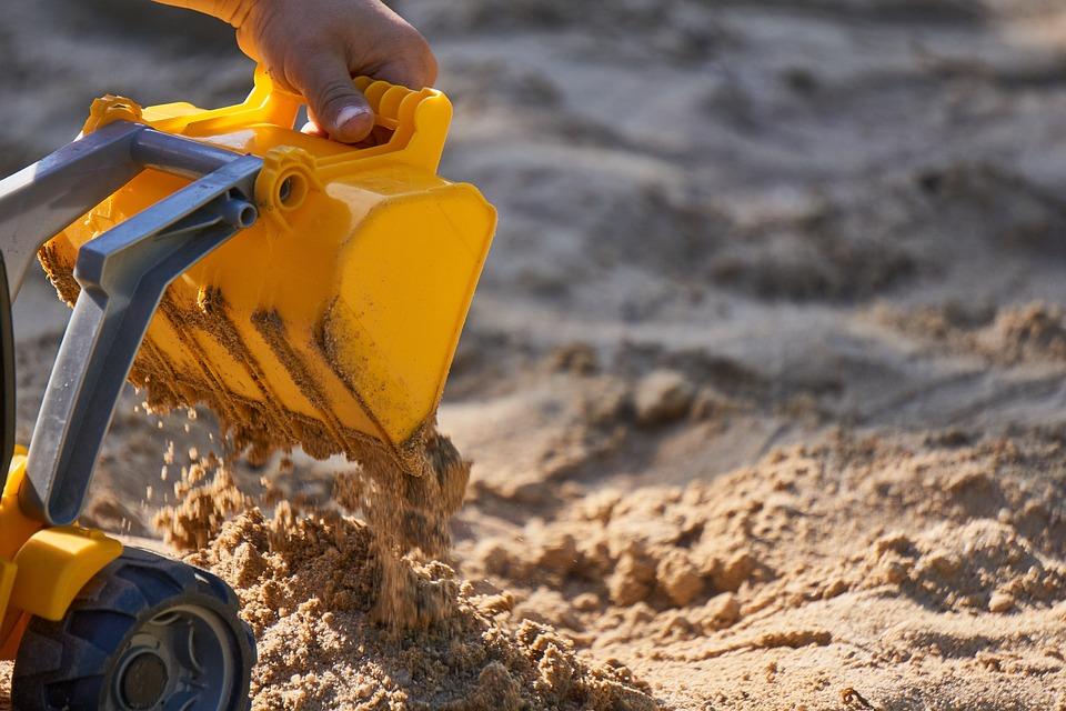 Excavators, Sand, Loading, Toys, Child, Play, Sand Pit
