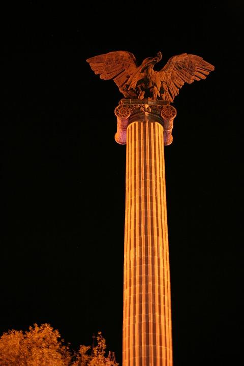 Plaza, Eagle, Exedra, Aguascalientes, Column, Night