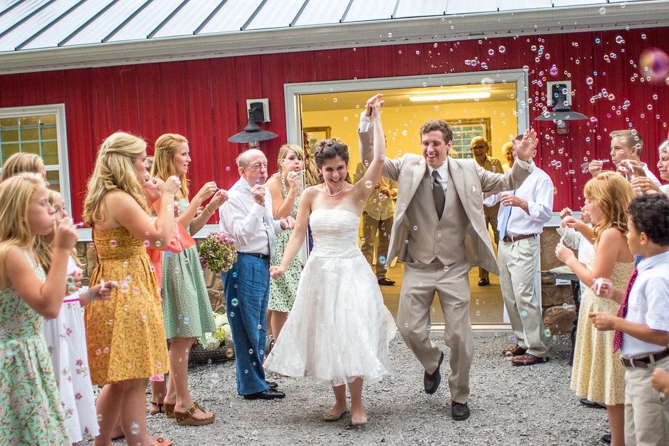 Wedding Reception, Wedding, Exit, Bubbles
