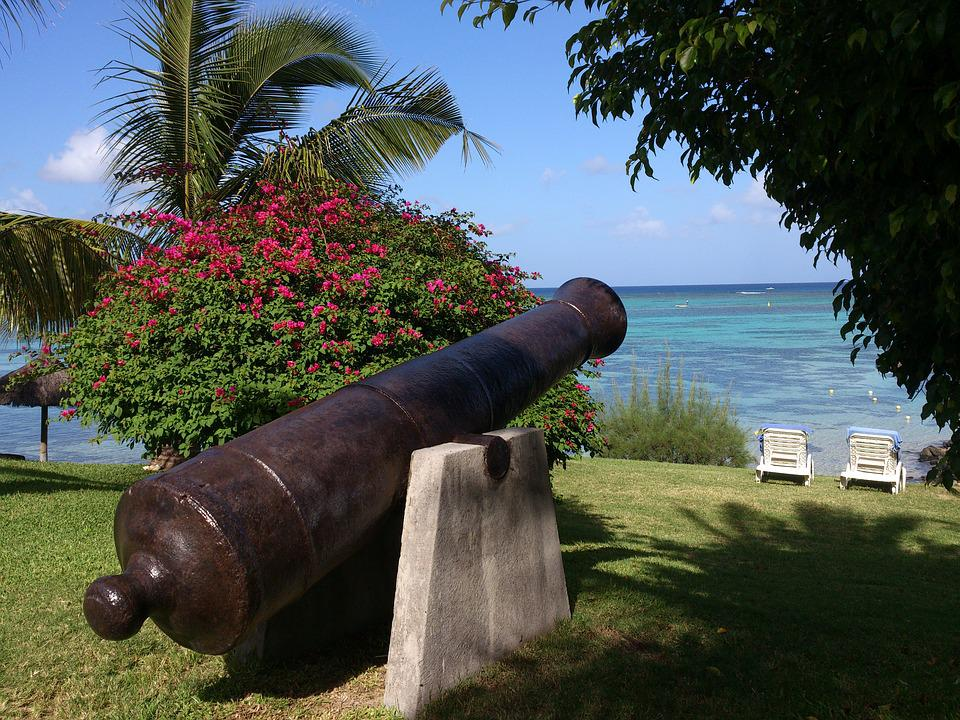 Mauritius, Beach, Palm Trees, Gun, Exotic, Sea, Holiday