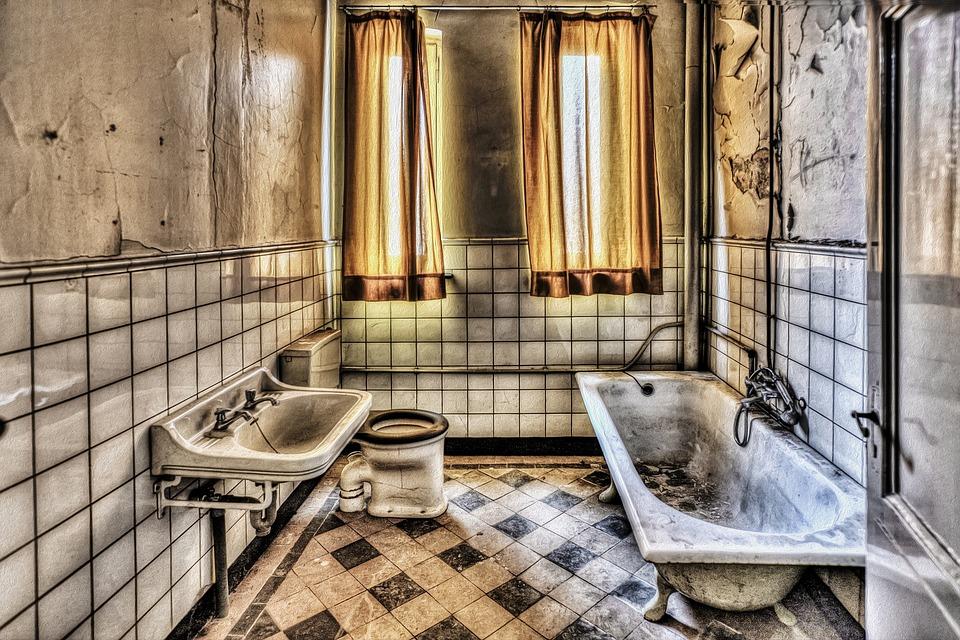 Bath, Bathroom, Hdr, Monastery, Expired, Old