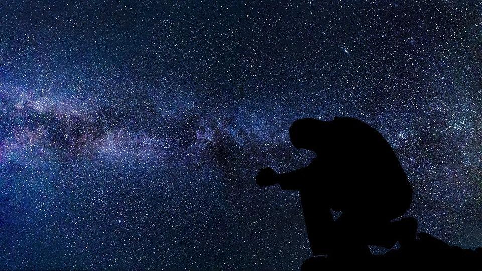 Praying, Silhouette, Moon, Astronomy, Exploration