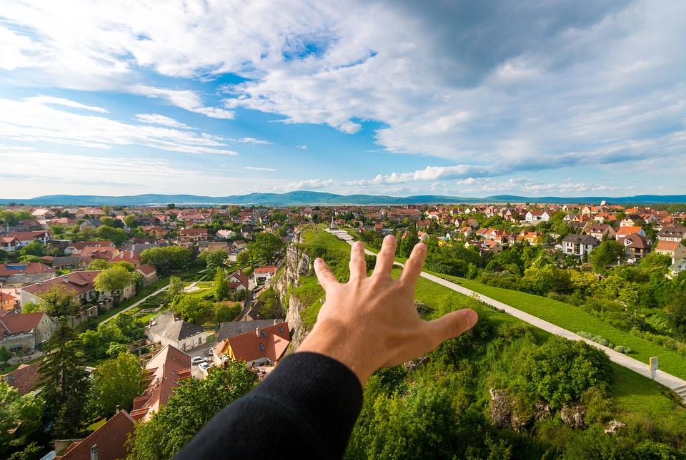City, Urban, Landscape, Explore, Discover, Hand, Rise