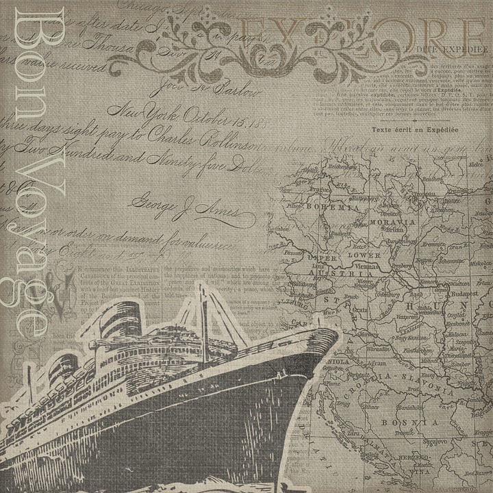 Cruise, Bon Voyage, Map, Explorer, Travel, Vintage