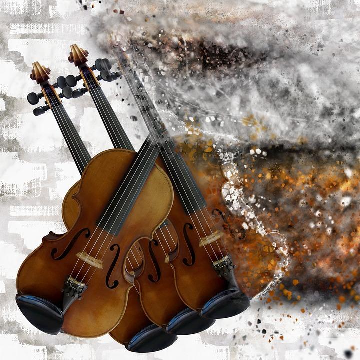 Violin, Explosion, Music, Artistic, Digital Art