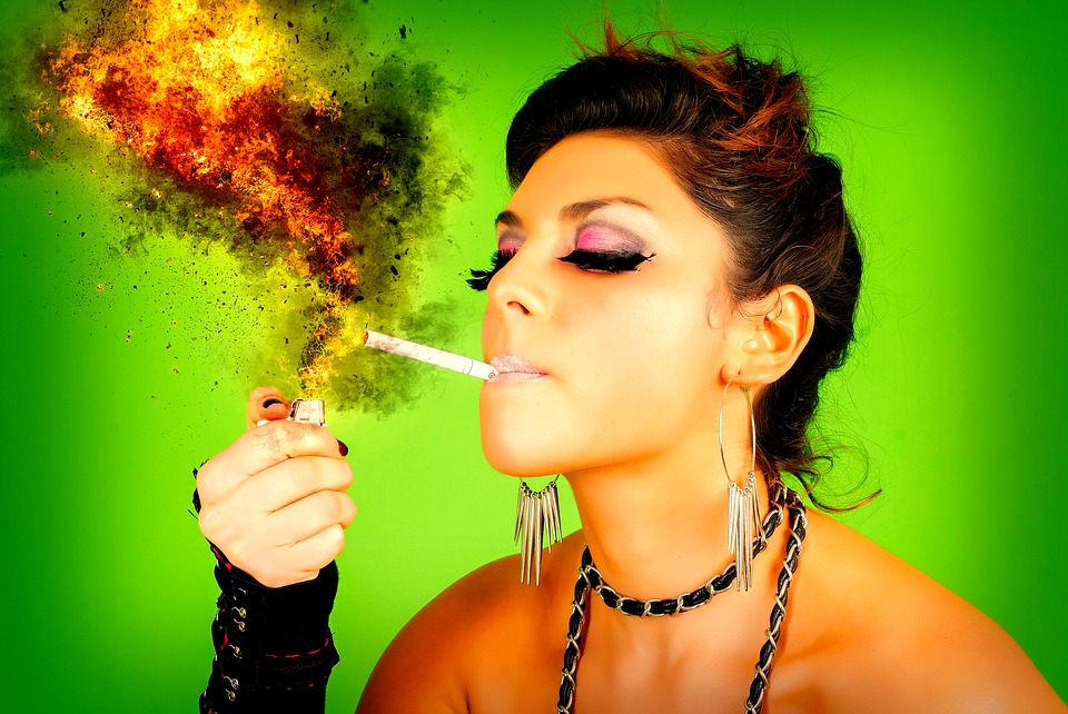 Woman, Head, Smoking, Cigarette, Fire, Flame, Explosion