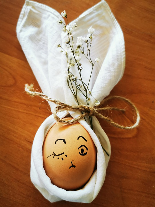Egg, Face, Expression, Wink, Easter, Flowers, Fabric