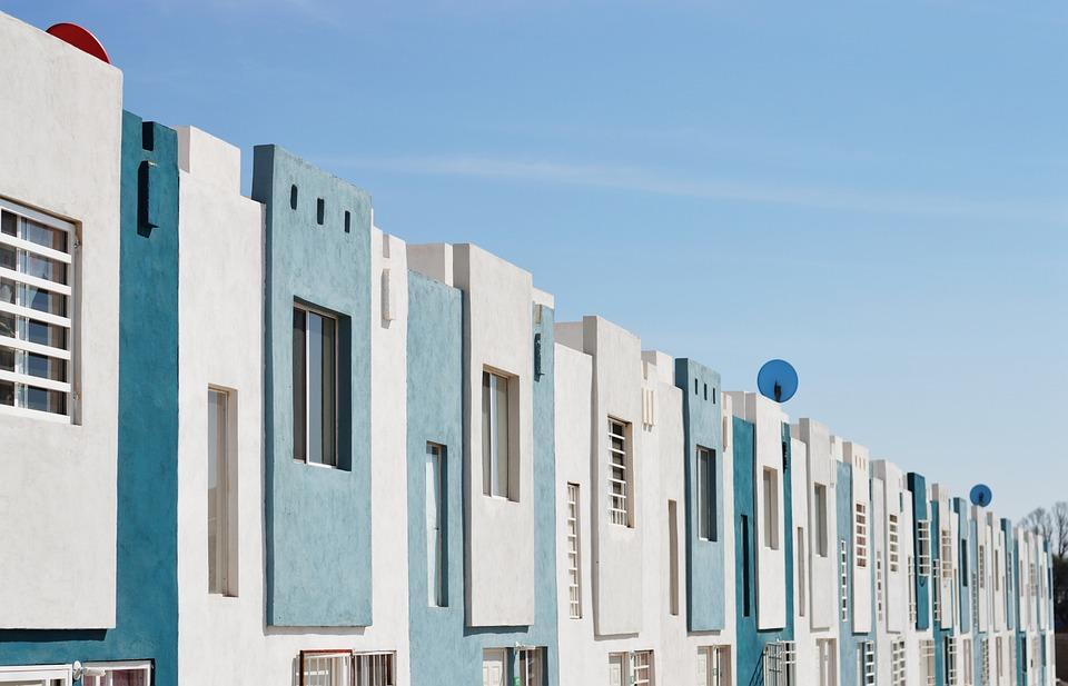 Blue, House, Home, Urban, Street, City, Exterior, Sky