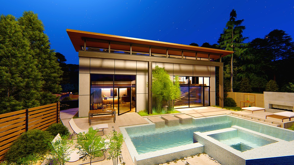 Pool House, Modern House, Water, Exterior, Luxury