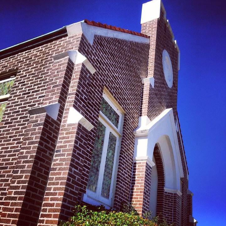 Church, Building, Brick, Exterior, Structure, Worship