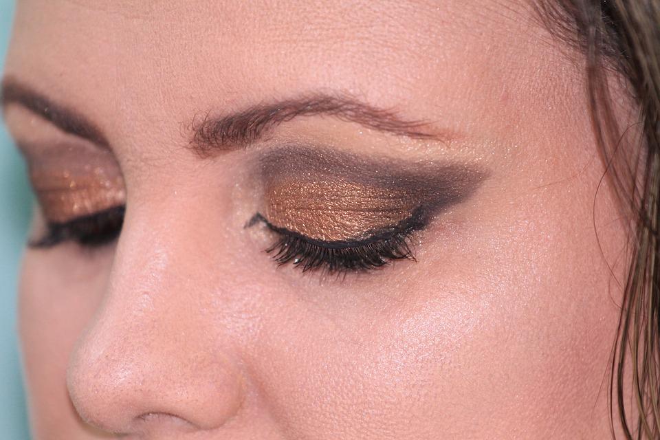 Makeup, Beauty, Female, Eyeliner, Shadows, Woman, Gold