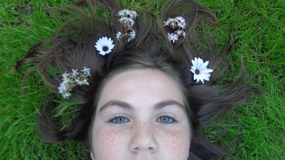Beauty, Blue, Eyes, Flowers, Artsy