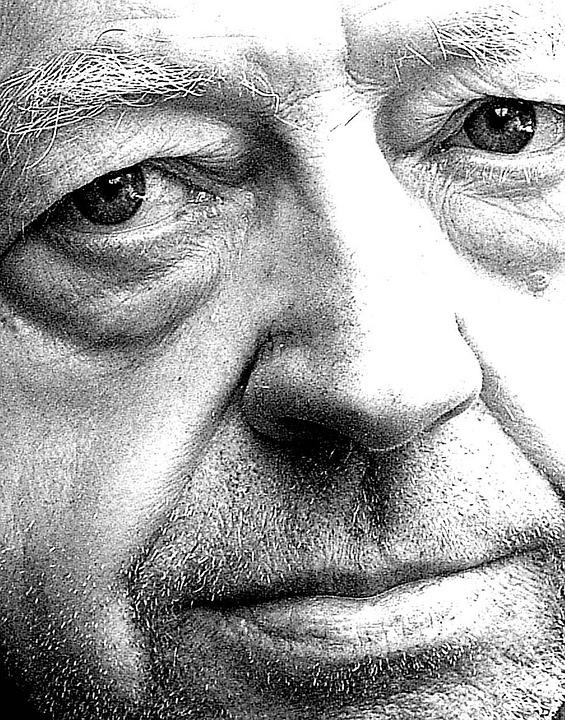 Old Man, Face, Eyes, Sadness, Black And White
