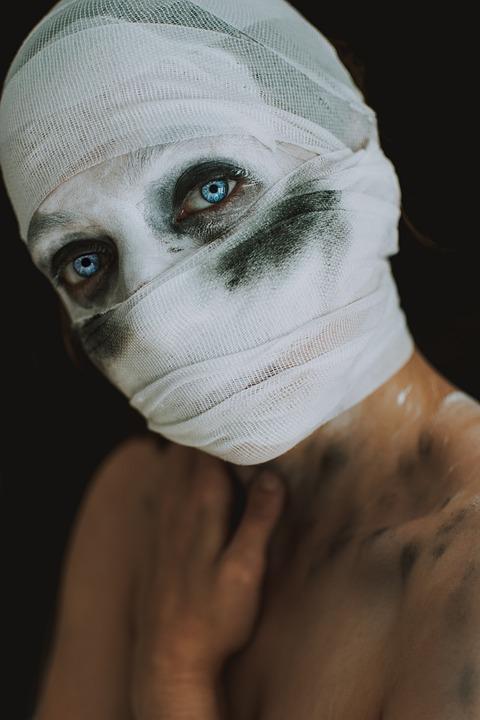 Woman, Halloween, Mask, Makeup, Blue Eye, Blue, Eyes