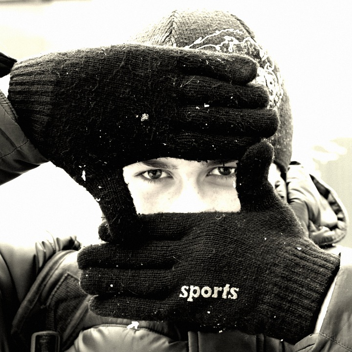 Eyes, Winter, Black And White, Snow, Snowflakes, Frost