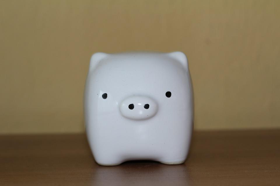 Piggy, Piggy Bank, White, Ceramics, Eyes, Cape, Black