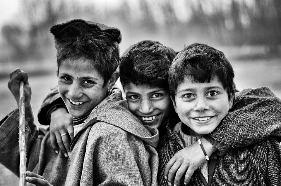 Boys, Friends, Poor, Black And White, Eyes, Smiling