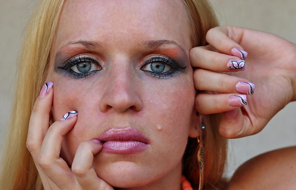 Orange Makeup, Woman, Facial, Eyes, Makeup, Nail