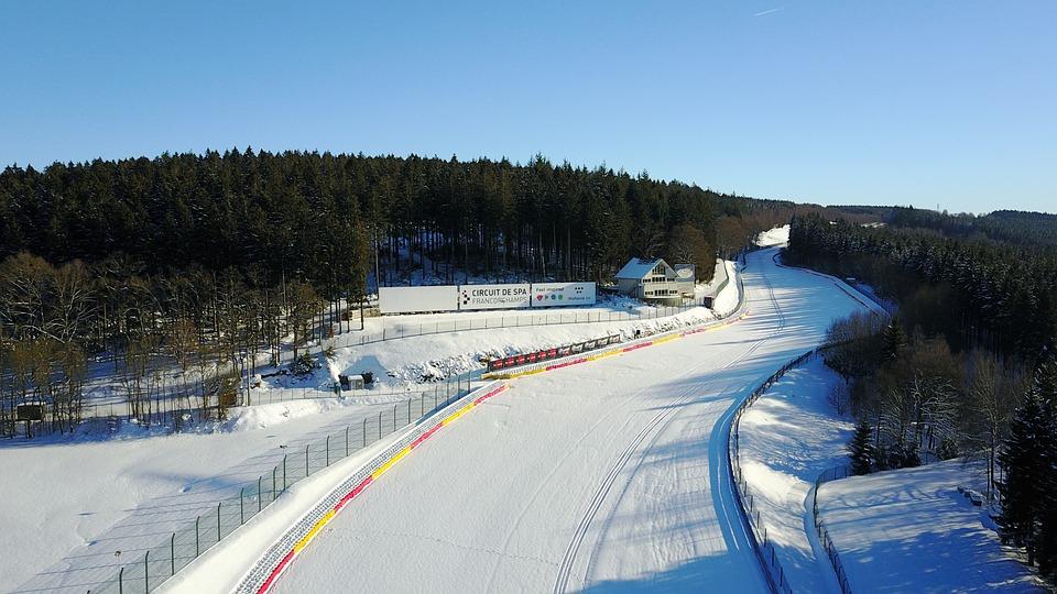 Raidillon, Circuit, F1, Race, Snow, Sky, Winter, Road