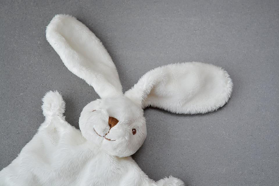 Hare, Fabric Bunny, Security Blanket, Doudou, White