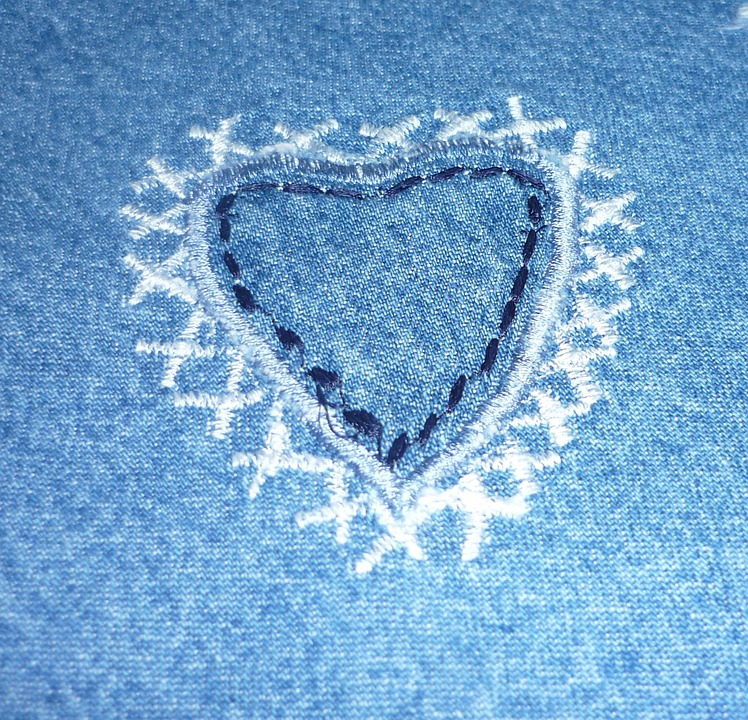 Background, Fabric, Heart, Jeans, Love, Textile, Design
