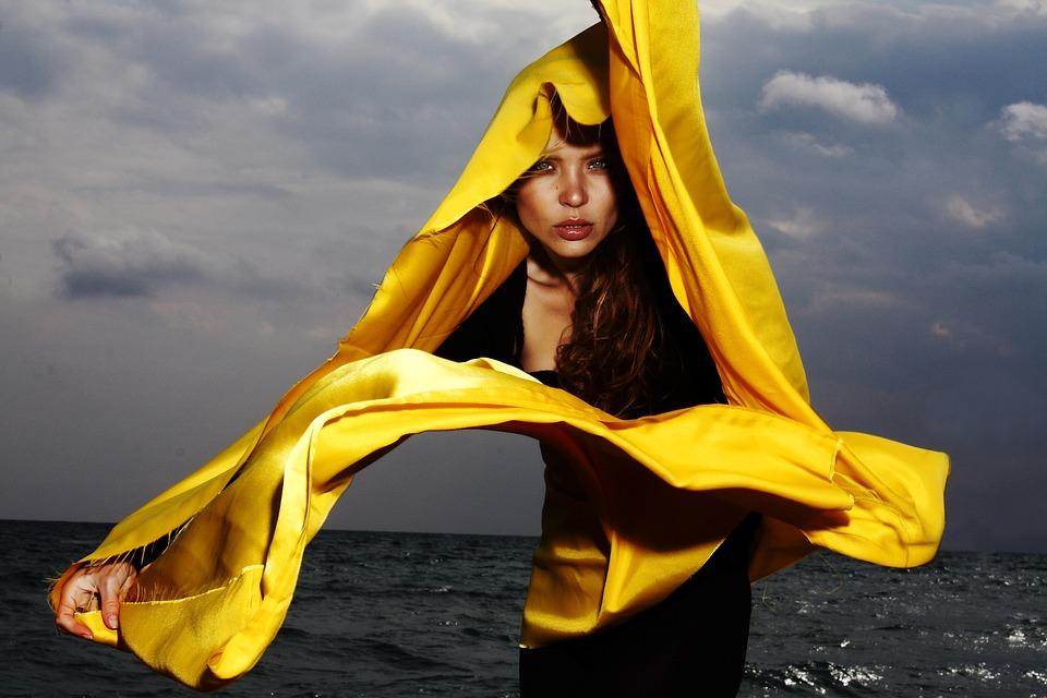 Model Yellow Fabric Wind Fashion Photography