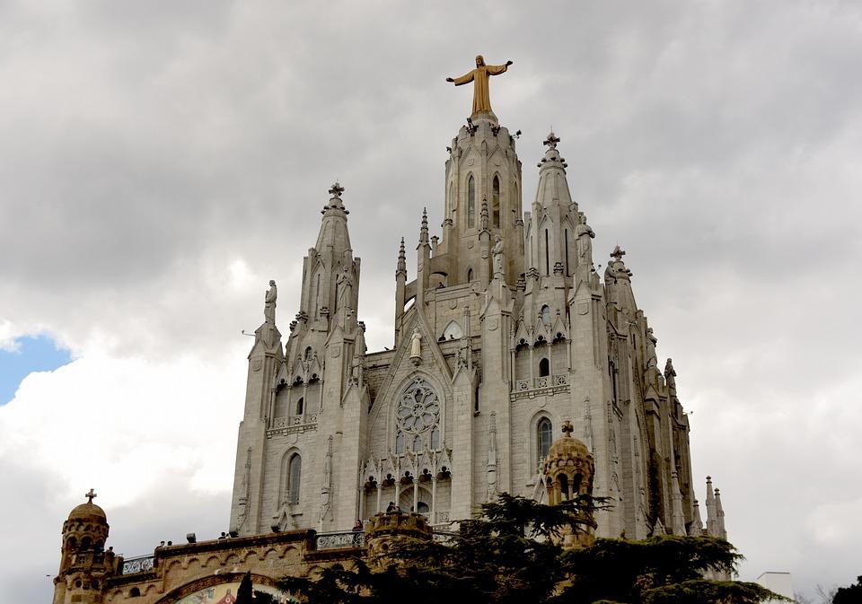Church, Basilica, Tibidabo, Barcelona, Mountain, Facade