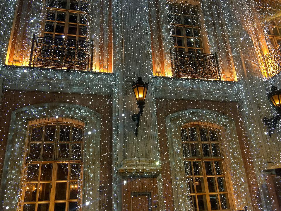 Moscow, Café Pushkin, Facade, Decorations, Christmas