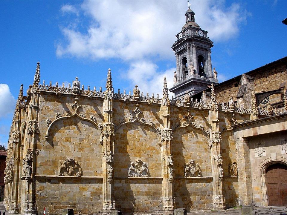 Guipúzcoa, Spain, Building, Facade, Church, Palace, Sky