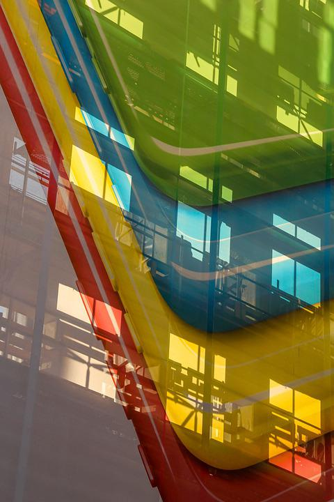 Facade, Architecture, Design, Blue, Yellow, Red, Green