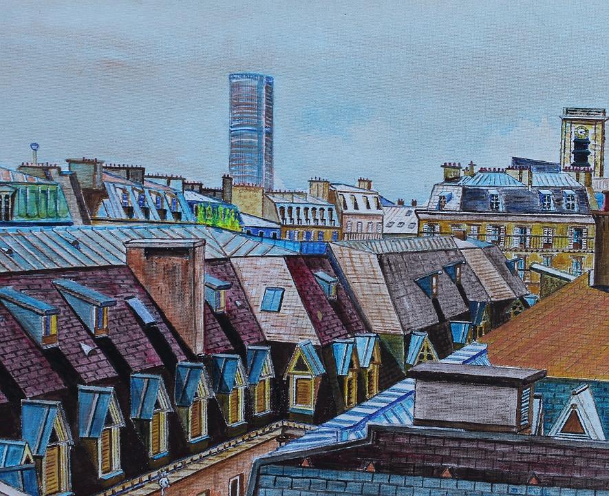 Paris, Landscape, France, Roofs, Art, Painting, Facade