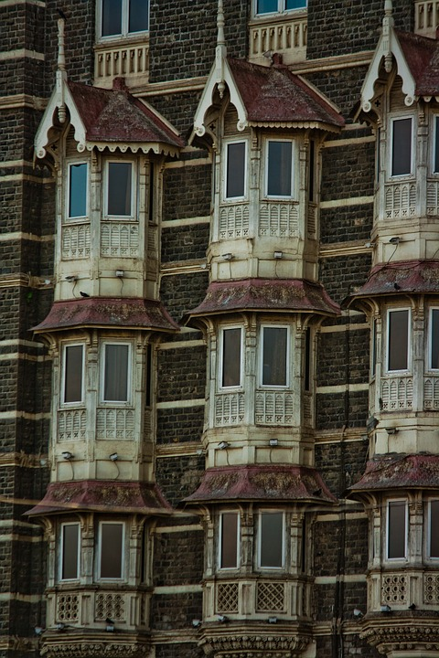 Facade, India, Old, Building, Windows, Mumbai