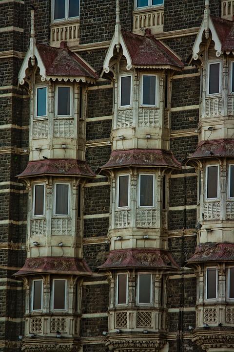 Facade, India, Old, Building, Windows, Mumbai