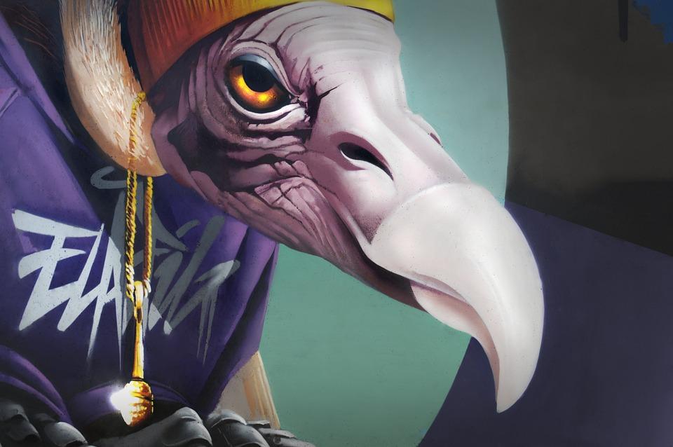Graffiti, Bird, Birds, Facade, Painting, Figure