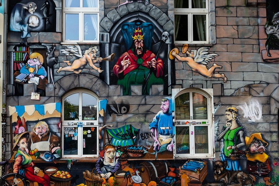 Düsseldorf, Pine Street, Home, Grafitti, Art, Facade