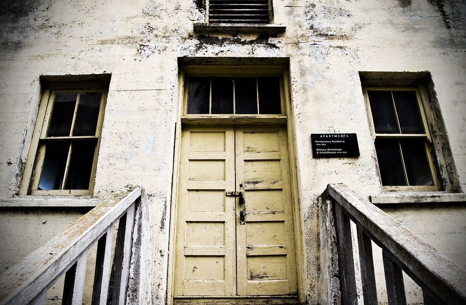 Old, School House, Door, Wooden, Facade, Chalked