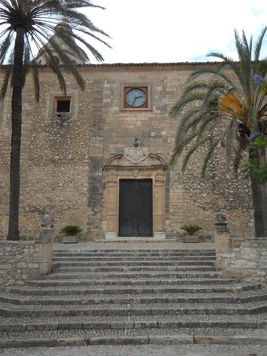 Algaida, Mallorca, Church, Portal, Clock, Stony, Facade