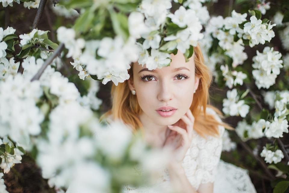 Beautiful, Flowers, Girl, Hair, Tenderness, Face, View