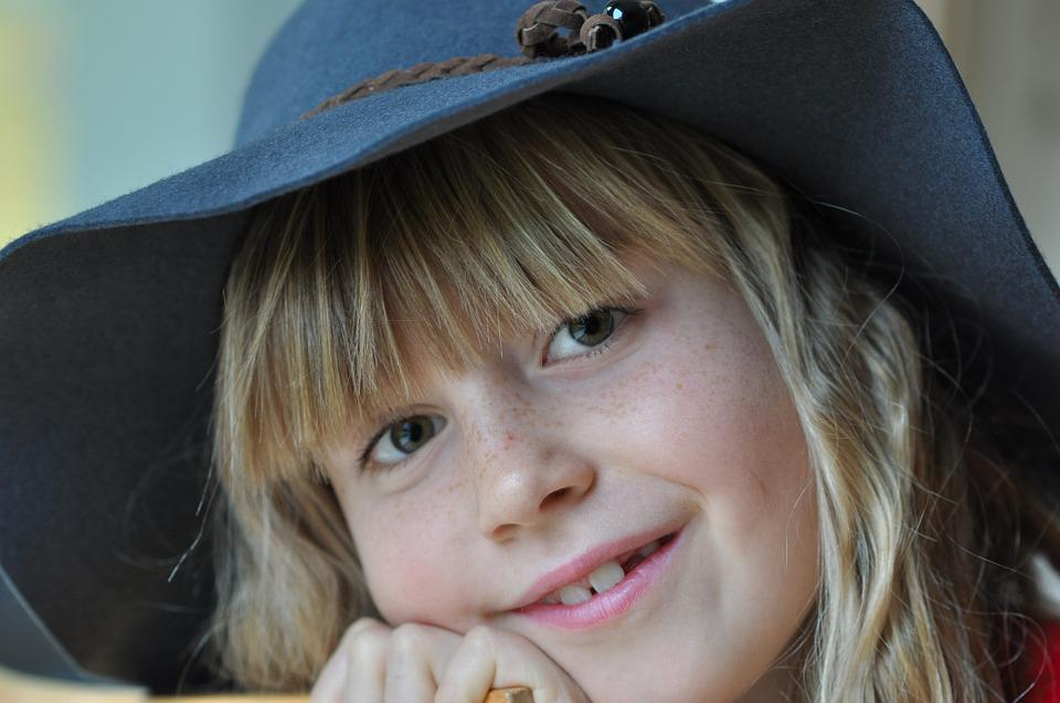 Girl, Child, Smile, Face, Happy, Human, Blond, Hat