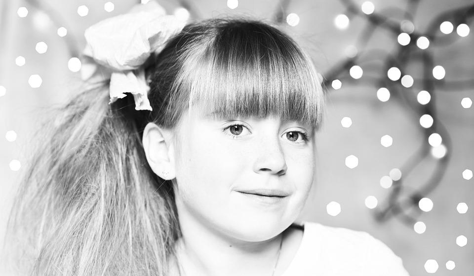 Child, Girl, Face, Black And White, Smile, Happy