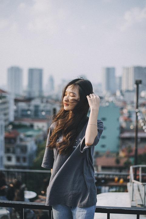 Hair, Wind, Girl, Face, Portrait, Alone, Cute