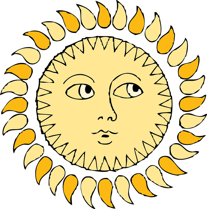 Sun, Face, Eyes, Rays, Mouth