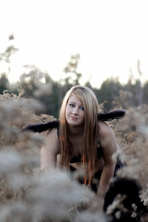 Girl, Outdoors, Wings, Face, Hair, Young, Female