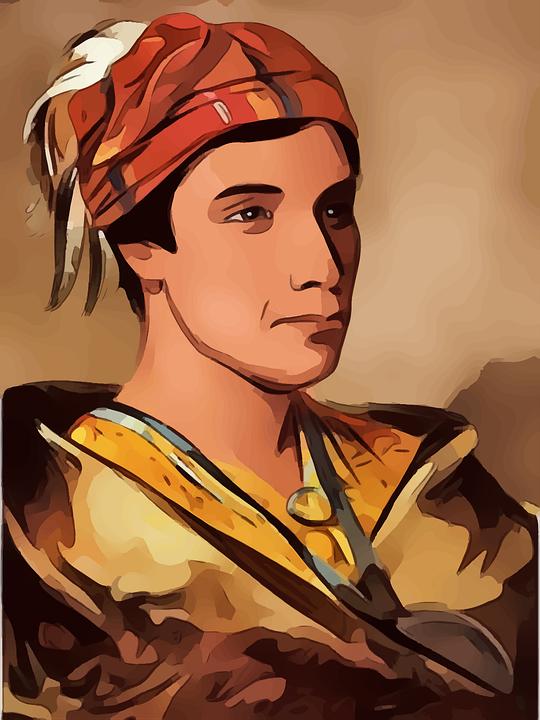 Man, Profile, Indian, Guy, Hat, Vintage, Cartoon, Face