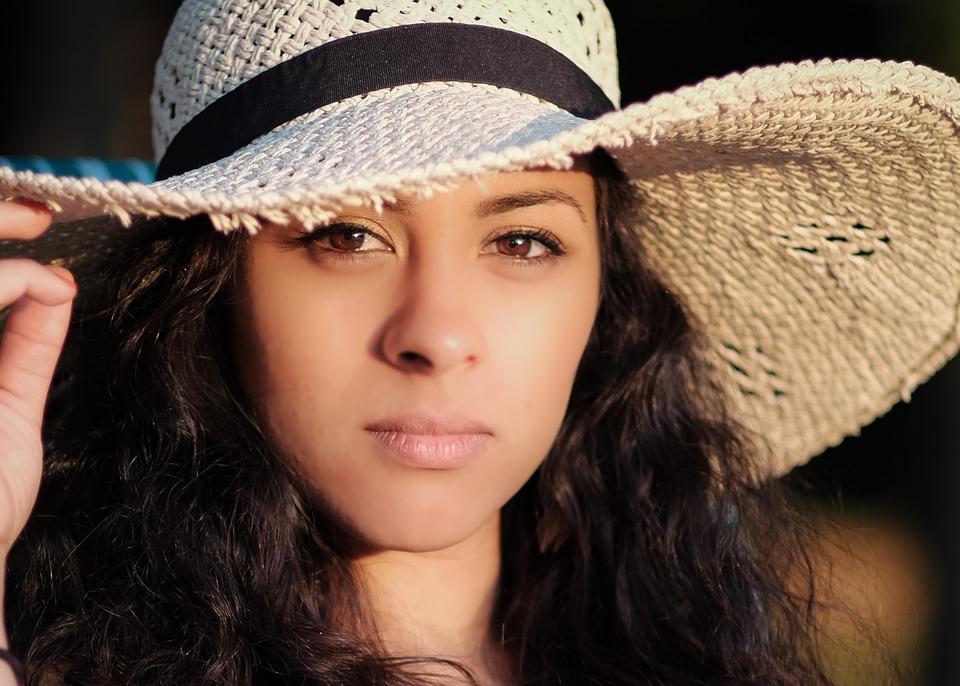 Woman, Brunette, Face, Hat, Head, Portrait, Sun Hat