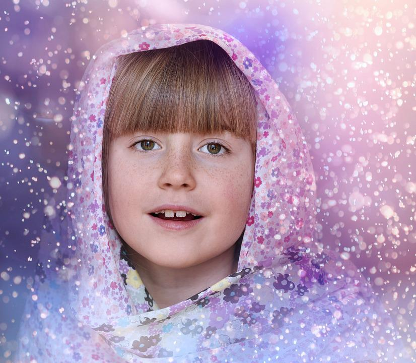 Child, Girl, Face, Headwear, Snow
