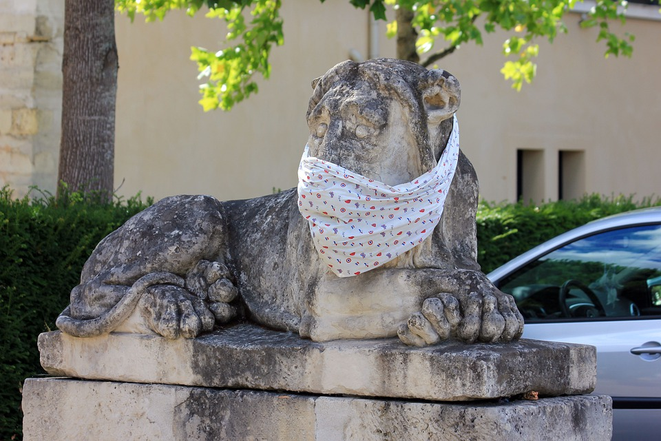 Statue, Stone Figure, Lion, Face Mask, Protection
